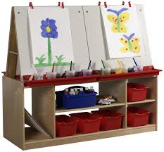 Children S Table With Storage by Children U0027s 4 Station Art Easel With Storage 5 Birch Cubbies