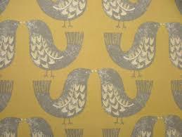 Roman Upholstery Smd Iliv Scandi Birds Mustard 100 Cotton Fabric Curtain