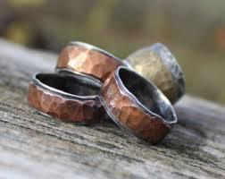 mens hammered wedding bands mens hammered wedding rings etsy