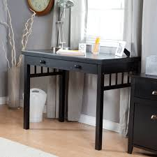 Small Wooden Desk Simple Small Rectangle Black Wooden Desk With Drawer Decofurnish