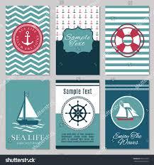 Invitation Cards Design Marine Banners Summer Nautical Invitation Cards Stock Vector