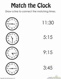 match the time to the clock worksheet homeschooling pinterest