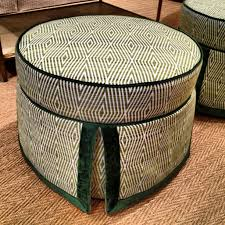 Houndstooth Ottoman Tar Shoe Bench Fabric Storage Cube Square
