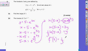 Inverse Functions Worksheet Answers Aqa June 2015 C3 Paper Q4 Youtube