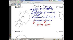 Segment Lengths In Circles Worksheet Answers Segment Lengths In Circles 2