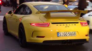 yellow porsche yellow porsche 991 gt3 driving and sound 2015 hq