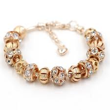 bracelet charm gold images Beautiful 18k gold plated bead charm bracelet with crystals jpg