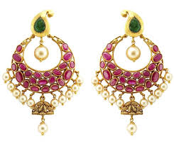 chandbali earrings chandbali earrings crafted in gold rubies emeralds jl au 105