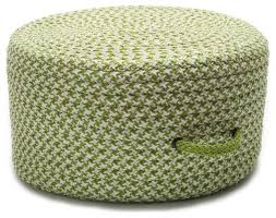 braided houndstooth pouf pouf ottoman lime green round 20