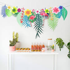 luau party supplies wholesale flamingo flower banner tropical leaf paper garlands for