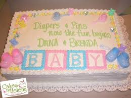 image result for baby shower sheet cakes for twin girls cake