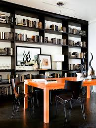 home office masculine home office with orange desk hgtv
