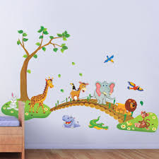 compare prices on animals live tree online shopping buy low price 3d cartoon wild animal tree bridge flowers wall stickers for kids room living room lion giraffe