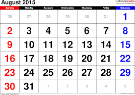 printable calendar large print august 2015 calendars for word excel pdf