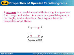 A Rectangle Is A Parallelogram With A Right Interior Angle 6 4 Properties Of Special Parallelograms Warm Up Lesson