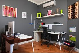 White Home Office Desks Grey Wall Color For Small Home Office Ideas With Sleek White Desk