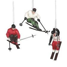 skier ornaments set of 3