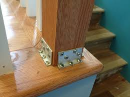 Stair Base Molding by How To Hide Stair Post Brackets With Wood Molding Youtube