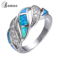 wedding rings opal images Blue fashion jewelry crystal fire opal ring 14kt white gold filled jpg