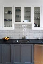 two tone kitchen cabinets with black countertops two tone gray and white kitchen cabinets with black