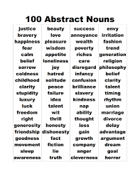 abstract noun worksheet worksheets