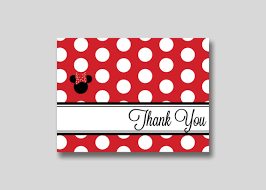 minnie mouse thank you cards instant polka dot minnie mouse thank you card or pink