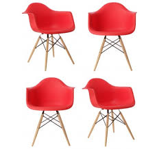 Red Armchair Eames Style Daw Molded In Black Plastic Dining Armchair With Wood