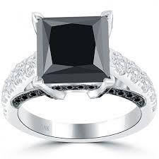 white silver rings images Princess black diamond engagement ring 14k white gold 2015 jpg