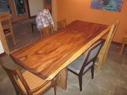 custom acacia slab dining table by clean air woodworks