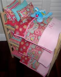 Personalized Girls Bedding by Pretty Triple Doll Bunk Bed Separates With Pink Teal Paisley Quilt