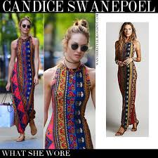 colorful dress what she wore candice swanepoel in colorful boho maxi printed