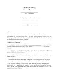 last will testament form print word document resume template free