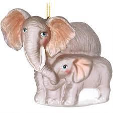 elephant with baby glass ornament animal animal birds