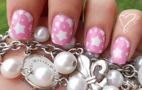 prettyfulz super cute pink u0026 white star nail art design for short