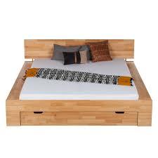 Schlafzimmer Naturholz Massiv Holz Bett 120x200 Cm Eiche Bettkasten Regal Bettgestell
