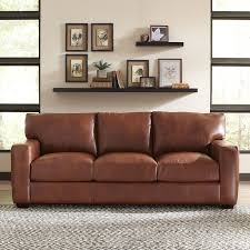 Leather Brown Sofas Birch Pratt Leather Sofa Reviews Wayfair