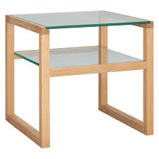 glass coffee table with glass shelf herrmann solid oak and glass side table buy now at habitat uk