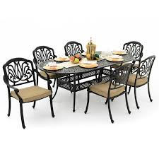 42 Inch Round Patio Table by Rosedown 7 Piece Cast Aluminum Patio Dining Set With 86 X 42 Inch