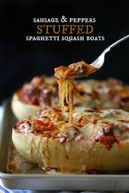 cheesy sausage vegan stuffed spaghetti squash thanksgiving