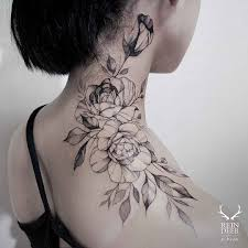 shoulder to neck tattoo of roses flowers tattoo pinterest