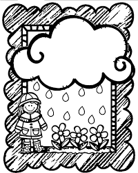 april shower flower cloud frame coloring page wecoloringpage