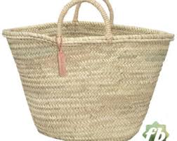 Round Wicker Basket Long Leather Handle French Basket