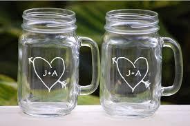wedding gift glasses toasting glasses etched jar glasses rustic wedding barn