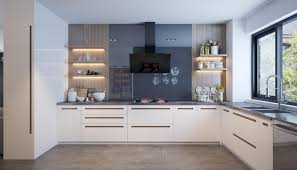 Decorating Ideas Charcoal Painted Kitchen Wall With Wooden Open