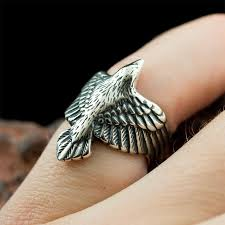 rings sterling silver images Raven ring sterling silver norse raven in flight viking jpg
