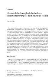 histoire de la chirurgie de la douleur u2014 traitement chirurgical de