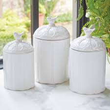Fiesta Kitchen Canisters White Kitchen Jars White Ceramic Storage Jars White China For