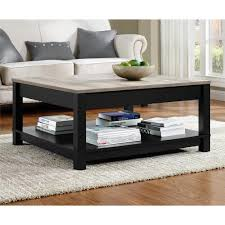 carver matte black storage coffee table black and distressed