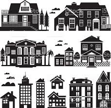 House Silhouette by House And Apartment Building Silhouette Icon Set Stock Vector Art