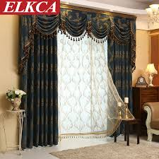 Kitchen Window Curtains Modern Jacquard Luxury Curtains For Living Room European Curtains